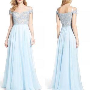 La Femme Off The Shoulder Dress powder blue